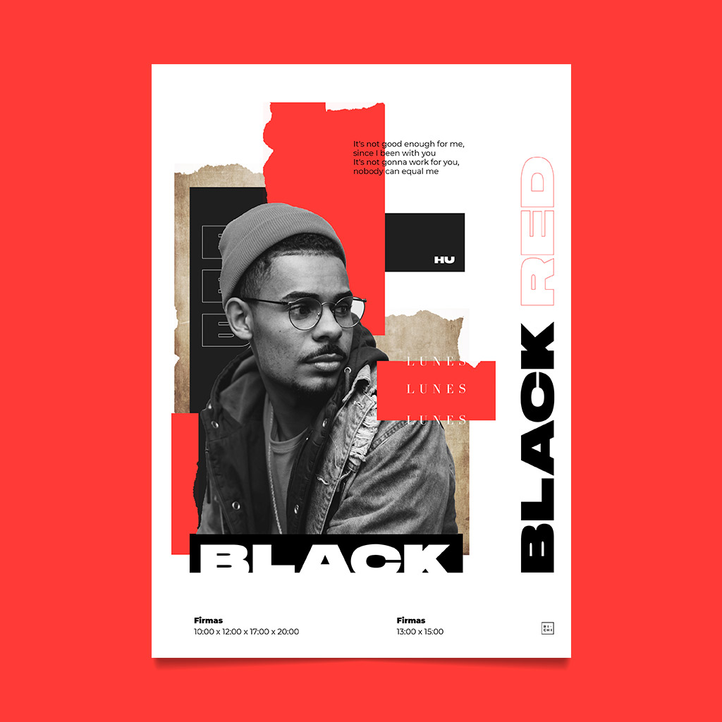 flyer black red urban poster richi perez