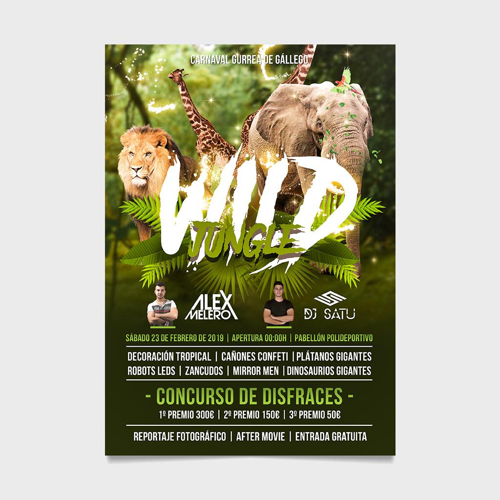 flyer cartel wild jungle alex melero dj satu carnaval gurrea de gallego