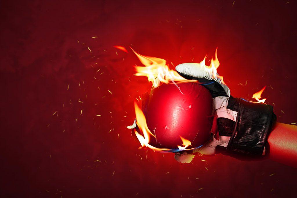 Psicología del color significado rojo guantes boxeo fuego