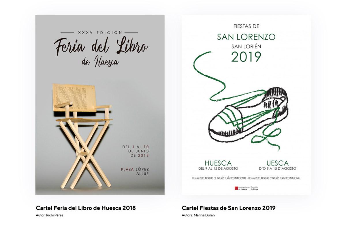 Cartel Feria del libro Huesca 2018 y cartel San Lorenzo 2019